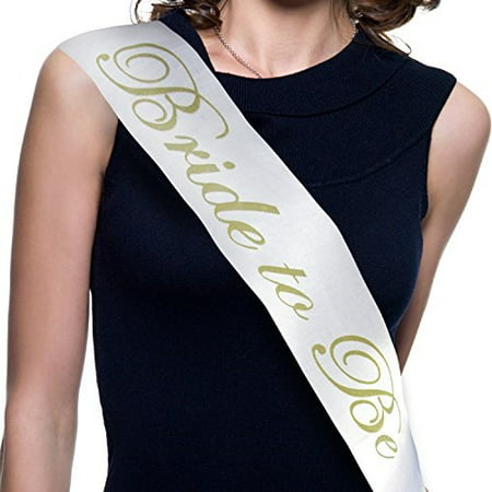 Bachelorette Party Bride to Be Sash - Bridal Shower Accessories (White Satin Gold Lettering) Favors Decorations](Wine Themed Bridal Shower)