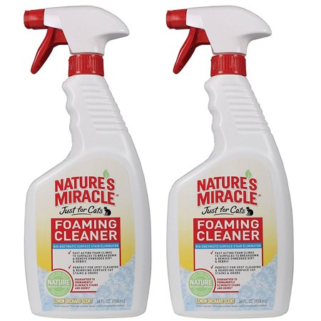 (2pk Nature's Miracle 24oz Foaming Cleaner Spray Bottle Of Pet Pee Stain & Odor Remover, Safe & Natural For Cat & Dog Urine, Feces & Vomit On Carpeting, Clothes & Furniture)