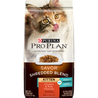 Purina Pro Plan Probiotics Dry Kitten Food SAVOR Shredded Blend Kitten Chicken & Rice Formula 5 lb. Bag