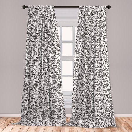 Black and White Curtains 2 Panels Set, Floral Composition Doodle Style Foliage Sketch Abstract Feminine Theme, Window Drapes for Living Room Bedroom, Black White, by Ambesonne ()