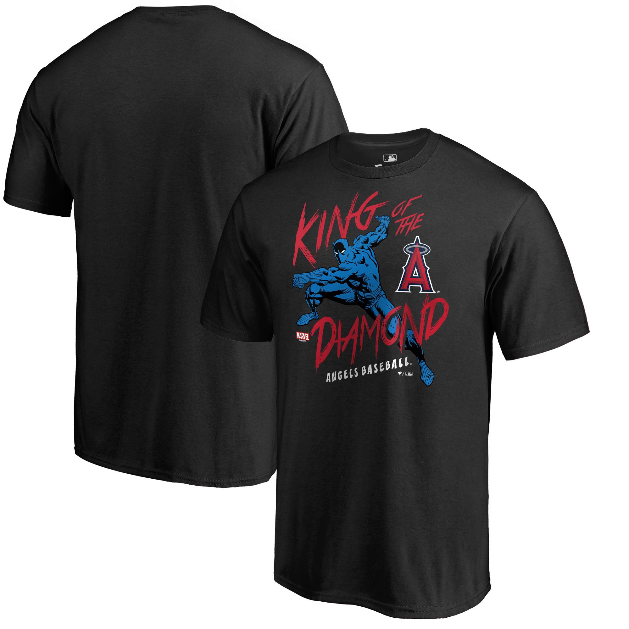 Los Angeles Angels Fanatics Branded MLB Marvel Black Panther King of the Diamond T-Shirt - Black