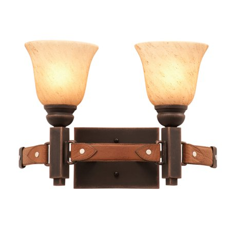 Bathroom Vanity 2 Light With French Cream Finish Penshell Glass Hand Forged Iron and Lear and Glass E26 16 inch 120 Watts