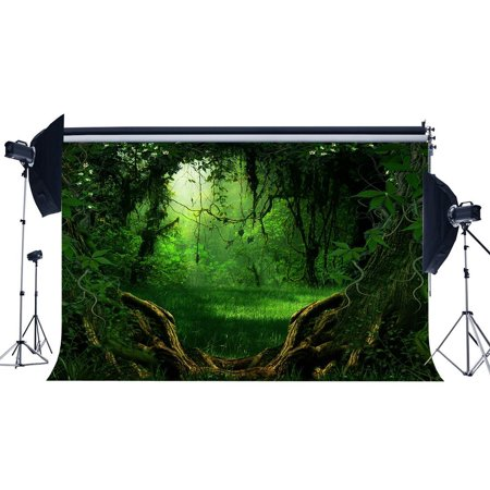 Jungle Tree Backdrop (HelloDecor Polyster 7x5ft Photography Backdrop Dreamy Fairy Tale Jungle Forest Old Tree Green Vine Sunshine Fantasy Landscape Backdrops for Baby Kids Lover Portraits Background Photo Studio)