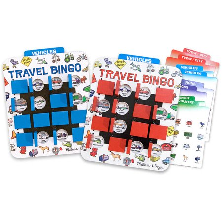 Melissa & Doug Flip to Win Travel Bingo Game, 2 Wooden Game Boards, 4 Double-Sided Cards Deal