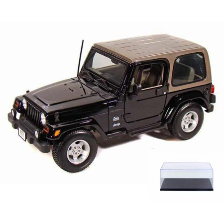 Diecast Car & Display Case Package - Jeep Wrangler Sahara, Black - Maisto 31662 - 1/18 Scale Diecast Model Toy Car w/Display Case