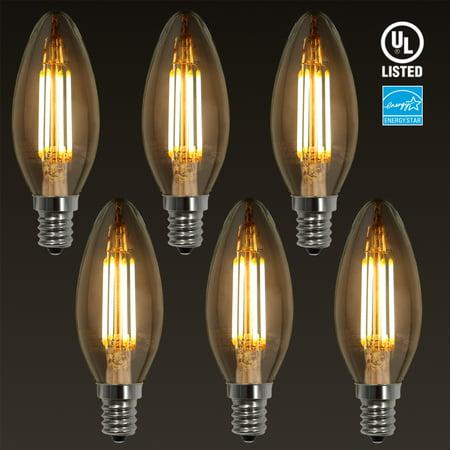 TORCHSTAR 6 Pack 4W E12 LED Filament Candelabra Bulb, UL-listed Vintage Candle Light, LED Light Bulbs, LED Bulbs for Wall Sconces, Pendant Lighting, 2700K Soft White ()