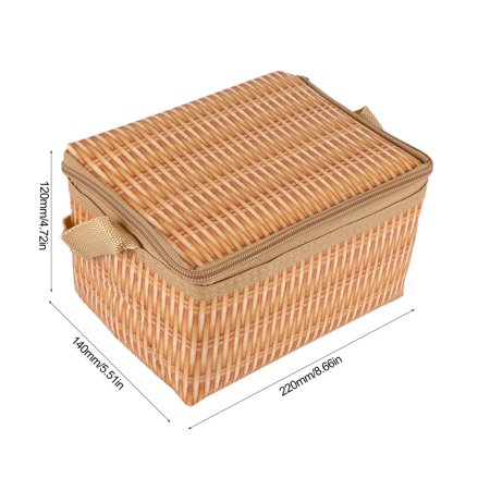 Waterproof And Thermal Insulation Rattan Woven Lunch Bag - image 3 of 5