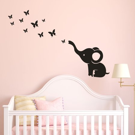DIY Elephant Butterfly Wall Stickers Decals Children's Room Home Decoration Art