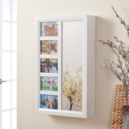 Photo Frames Wall Mount Jewelry Armoire Mirror - High Gloss White - 16W x 24H in. - Jewelry Frame