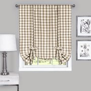 Country Chic Plaid Gingham Tie Up Shade Window Curtain Treatment - Taupe