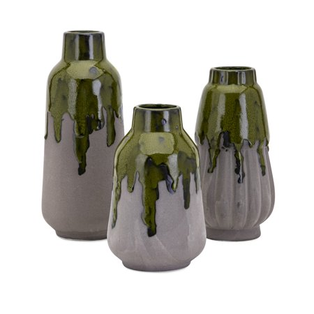 Contemporary Matte - Set of 3 Gray Matte Finished Contemporary Indoor Decorative Green Drip Vases 11""
