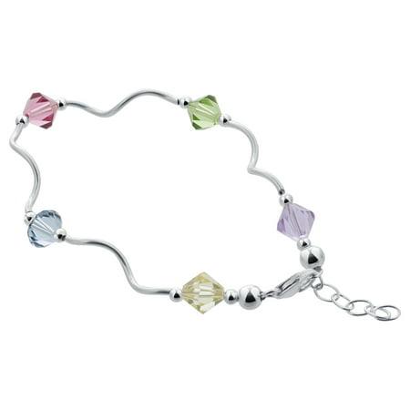 Multi Stone Gem (Gem Avenue Sterling Silver 7mm Multicolor Crystal Bracelet 8.5 inch with Wavy made with Swarovski Elements)