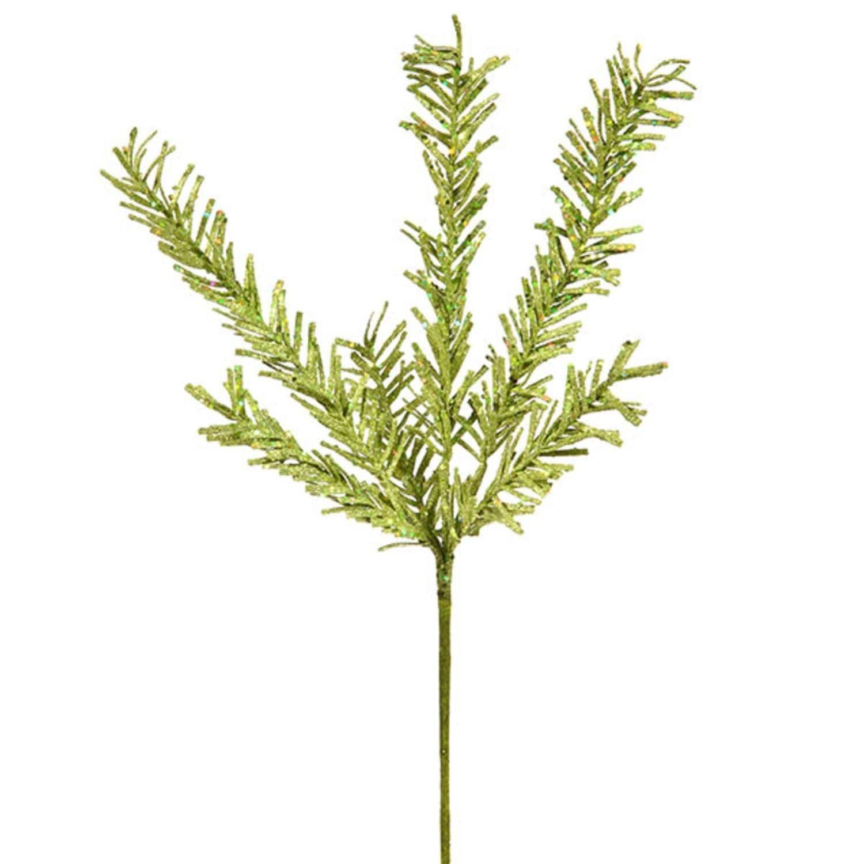 "Vickerman 21"" Sparkling Kiwi Green Rosemary Glitter Floral Crafting Christmas Spray"