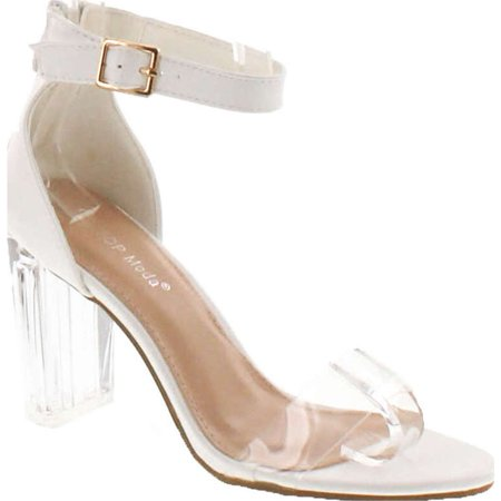 4f8d70cfa98 Top Moda Women s Alma-55 Lucite Clear Strappy Block Chunky High Heel ...