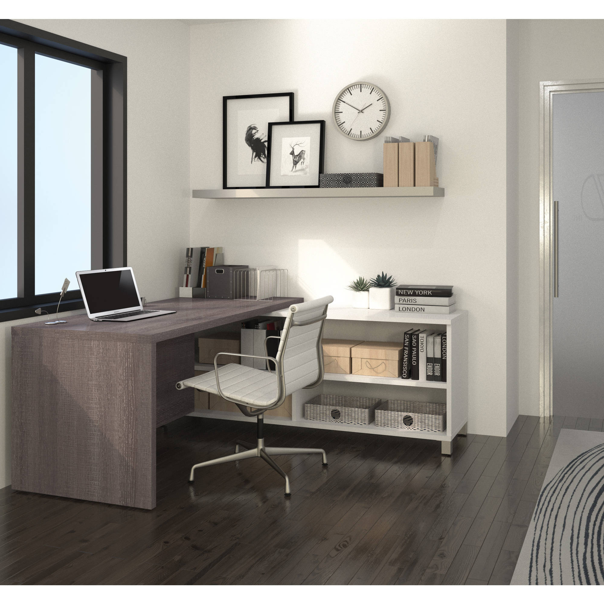 Bestar Pro-Linea L-Desk, White & Bark Grey