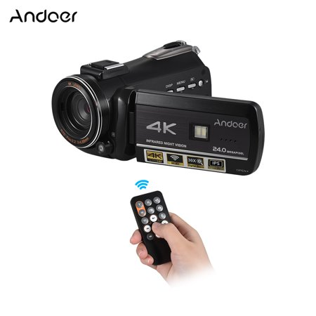 Digital Zoom 2.5 Inch Lcd - Andoer AC3 4K UHD 24MP Digital Video Camera Camcorder Recorder DV 30X Zoom 3.1 Inch Rotation IPS LCD Touchscreen Support WiFi Connection IR Night Vision With Hot Shoe for External Microphone