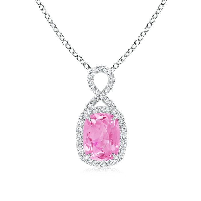 September Birthstone Pendant Necklaces Cushion Pink Sapphire Halo Pendant with Diamond Ribbon in 950 Platinum (8x6mm... by Angara.com