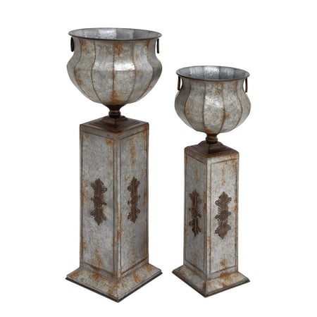 """DecMode Rustic Iron Pedestal Urn Planters, Set of Two, 34"""" and 40"""" H"""