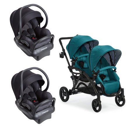 Contours Tandem Baby Stroller and 2 Pack of Nomad Mico Max 30 Infant Car