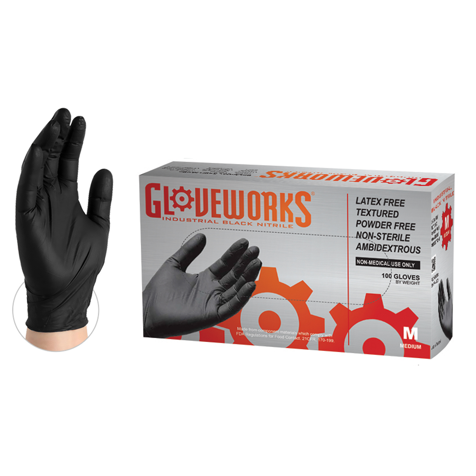 AMMEX GLOVEWORKS Black Nitrile Industrial Latex Free Disposable Gloves