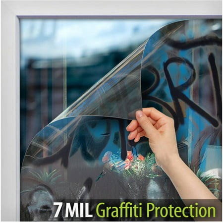 File Protection (BDF AG7M Graffiti Protection 7 Mil Clear Window Film 36in X 12ft by BuyDecorativeFilm )