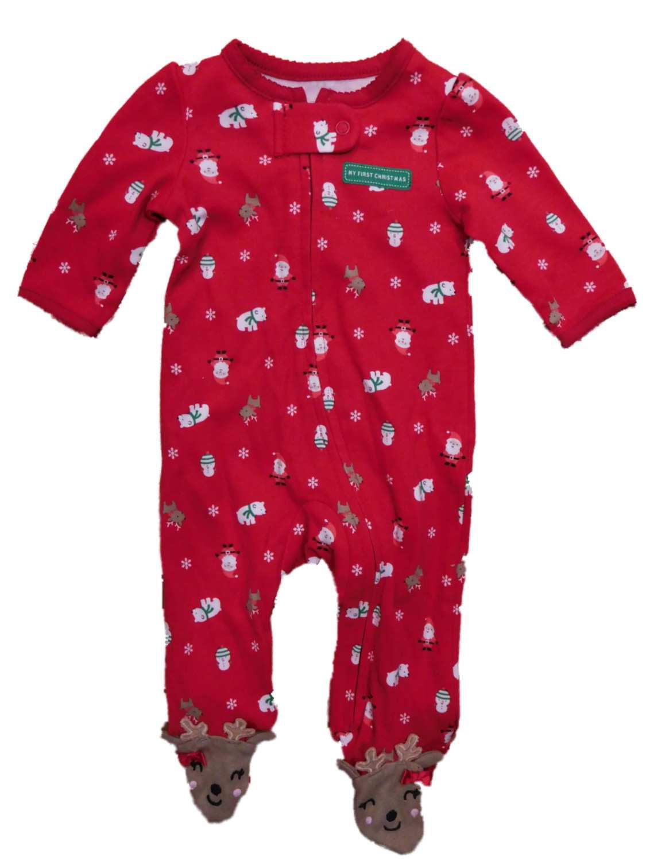 Carters Infant Girls Red Christmas Holiday Reindeer Sleeper Sleep & Play