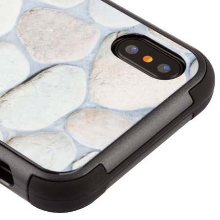 Kaleidio Case For Apple iPhone XS / X [Natural TUFF] Impact Protective Hybrid [Shock Absorption] 3-Piece Dual Layer Rubber Cover w/ Overbrawn Prying Tool [Rocks - Rubber Rock