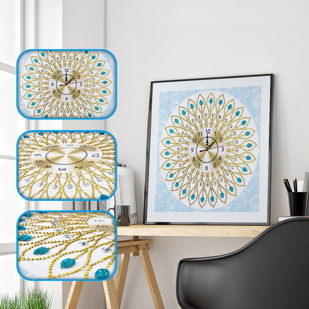 5D Special Diamond-shaped Embroidery Wall Clock DIY Painting Diamond Cross Stitc