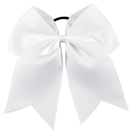 Cheer Hair Bows Large with Ponytail Holder White 1](1950 Ponytail)