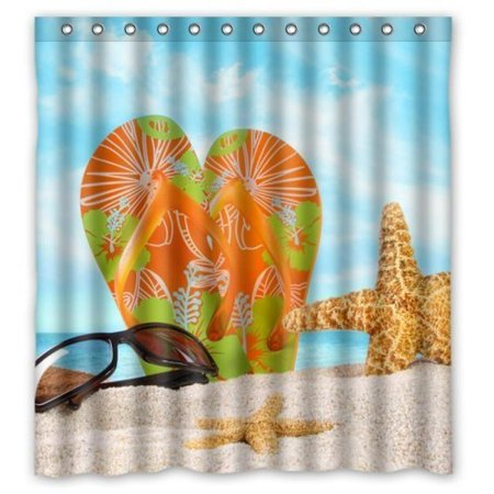 Generic Personalized Sunshine Summer Beach Flip Flops Shower Curtain Bath Decor 66 X 72