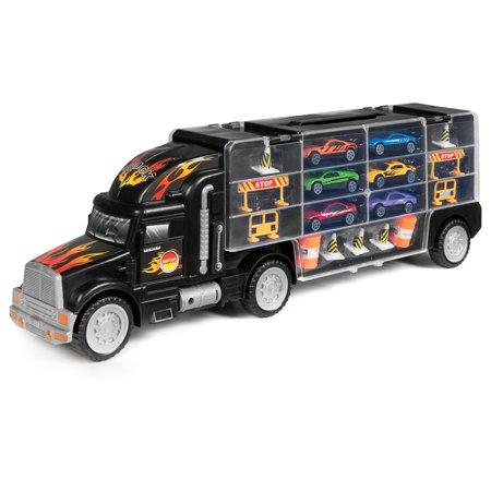 Best Choice Products Kids 29-Piece 2-Sided Transport Truck Toy w/ 18 Cars, 28 Slots,