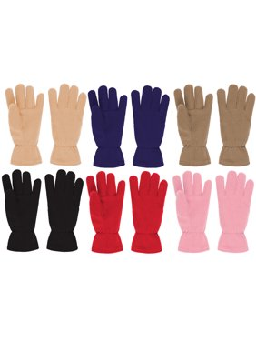 Toddler/Kids Soft And Warm Fleece Lined Gloves 6-Pack (1-2Y, 6 Pack)