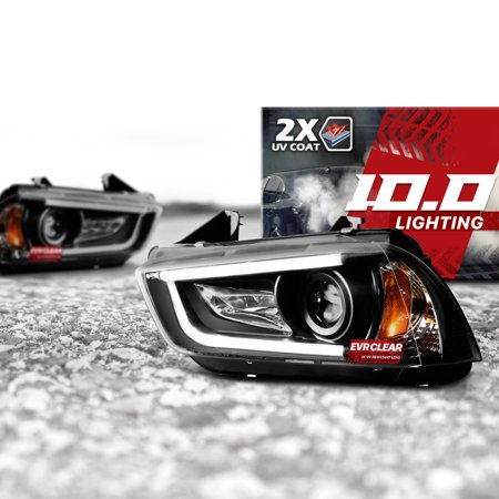 10.0 Projector Headlights Pair for Dodge Charger 11-14 w/ CCFL DRL Halo and EVRCLEAR Protection - Black Housings/Clear Lens - Right and Left Driver Passenger Replacement Assembly Housing 2dr Ccfl Projector Headlight