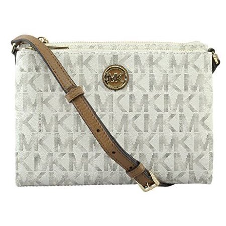 Michael Kors Women S Signature Pvc Fulton Ew Crossbody Bag 35t7gftc3b Vanilla Acron