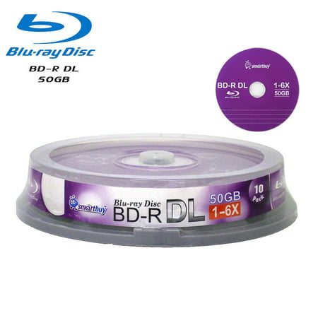 SmartBuy 10 Pack Bd-r Dl 50gb 6x Blu-ray Double Layer Recordable Disc Blank Logo Data Video Media 10-discs