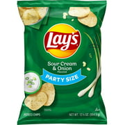 Lay's Sour Cream & Onion Flavored Potato Chips, Party Size, 12.5 oz Bag