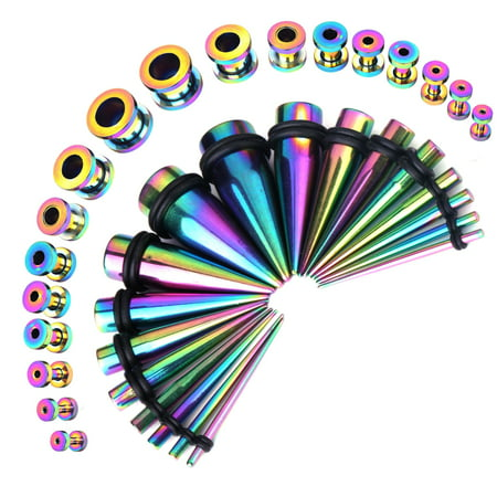 BodyJ4You 36PC Gauges Kit Ear Stretching 14G-00G Rainbow Steel Taper Screw Fit Tunnel Plug Jewelry