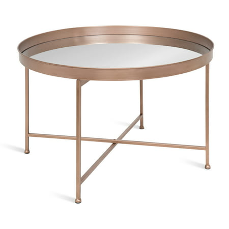 Kate and Laurel Celia Round Metal Foldable Coffee Table with Mirrored Tray Top, Rose Gold ()