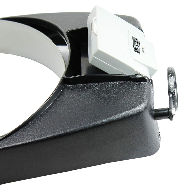 Jewelers Head Headband Magnifier LED Illuminated Visor Magnifying Glasses Loupe+