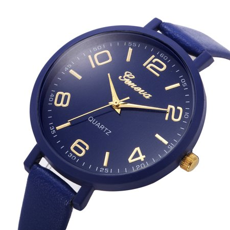 Outtop Women Casual Checkers Faux Leather Quartz Analog Wrist Watch