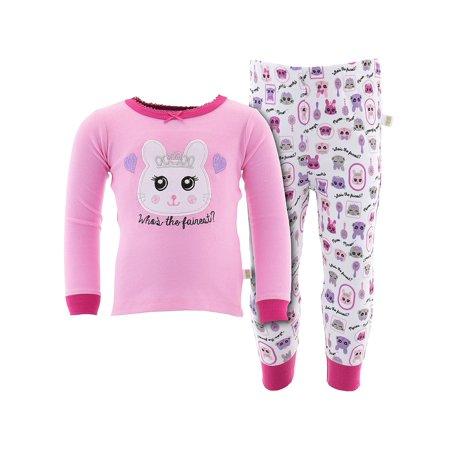 Duck Duck Goose Little Girls' Dark Pink Who is the Fairest Pajamas - Glow In The Dark Girls Pajamas