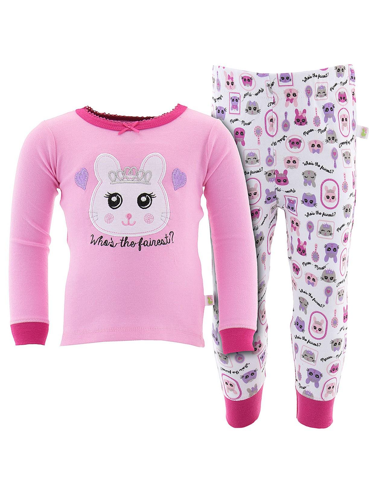 Duck Duck Goose Little Girls' Dark Pink Who is the Fairest Pajamas