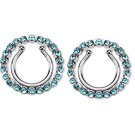 Circle Nipple (Nipple Rings non pierce pair Clip On Nipple Ring with Multi Paved Gem Circle)