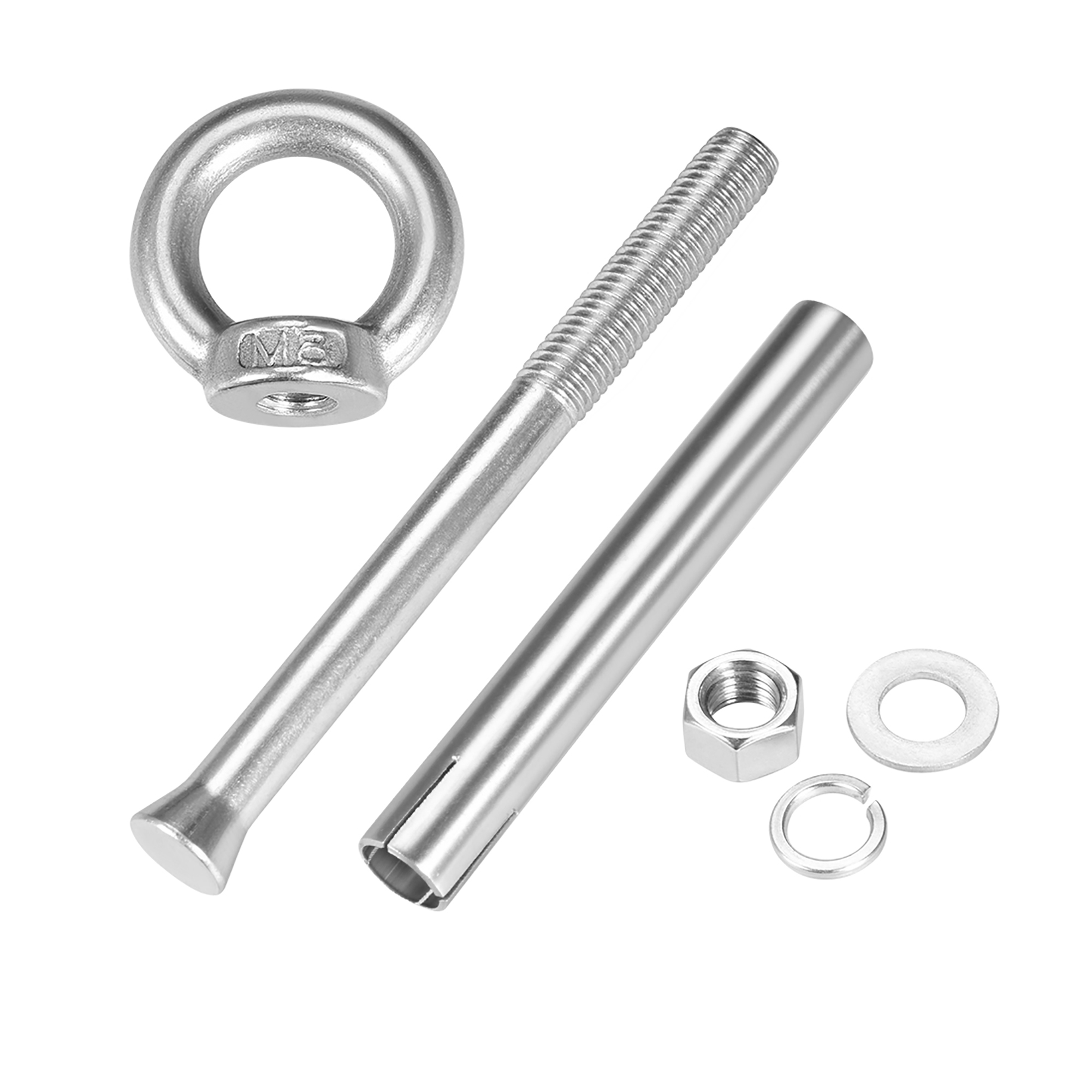 M8 x 120 Expansion Eyebolt Eye Nut Screw with Ring Anchor Raw Bolts 4 Pcs - image 3 de 4