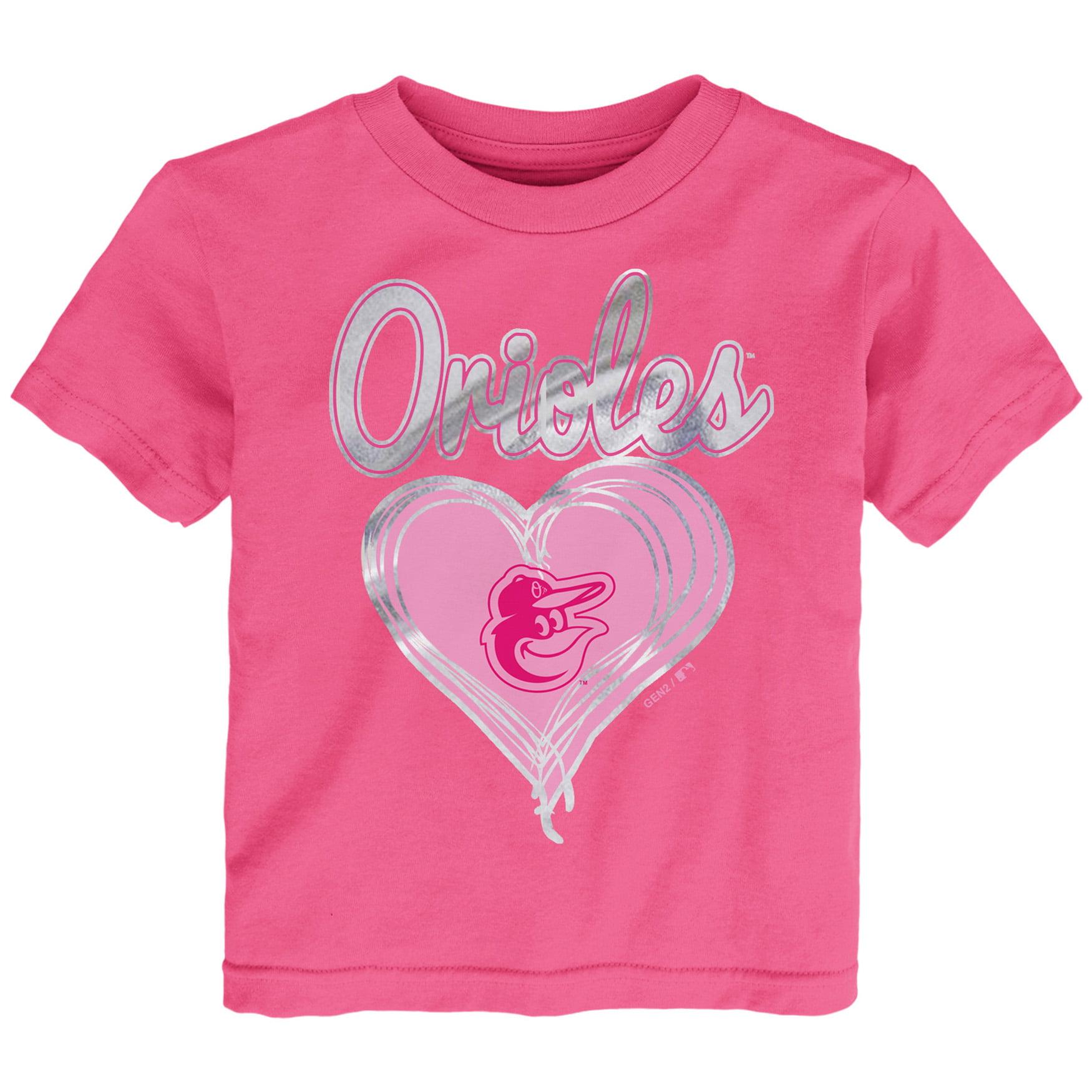 Baltimore Orioles Girls Preschool Unfoiled Love T-Shirt - Pink