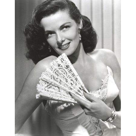 jane russell portrait in white silk corset dress with left