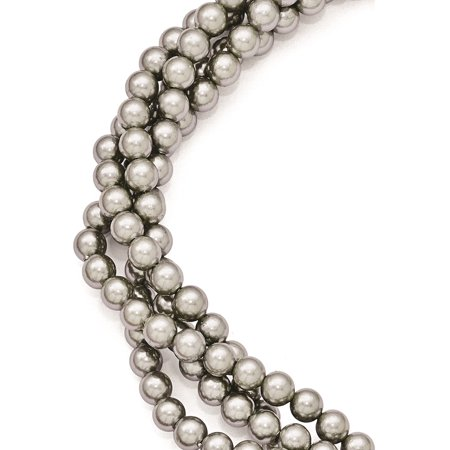 925 Sterling Silver Majestik 4Row 4-5mm Grey Shell Bead Twist Necklace - image 5 of 5