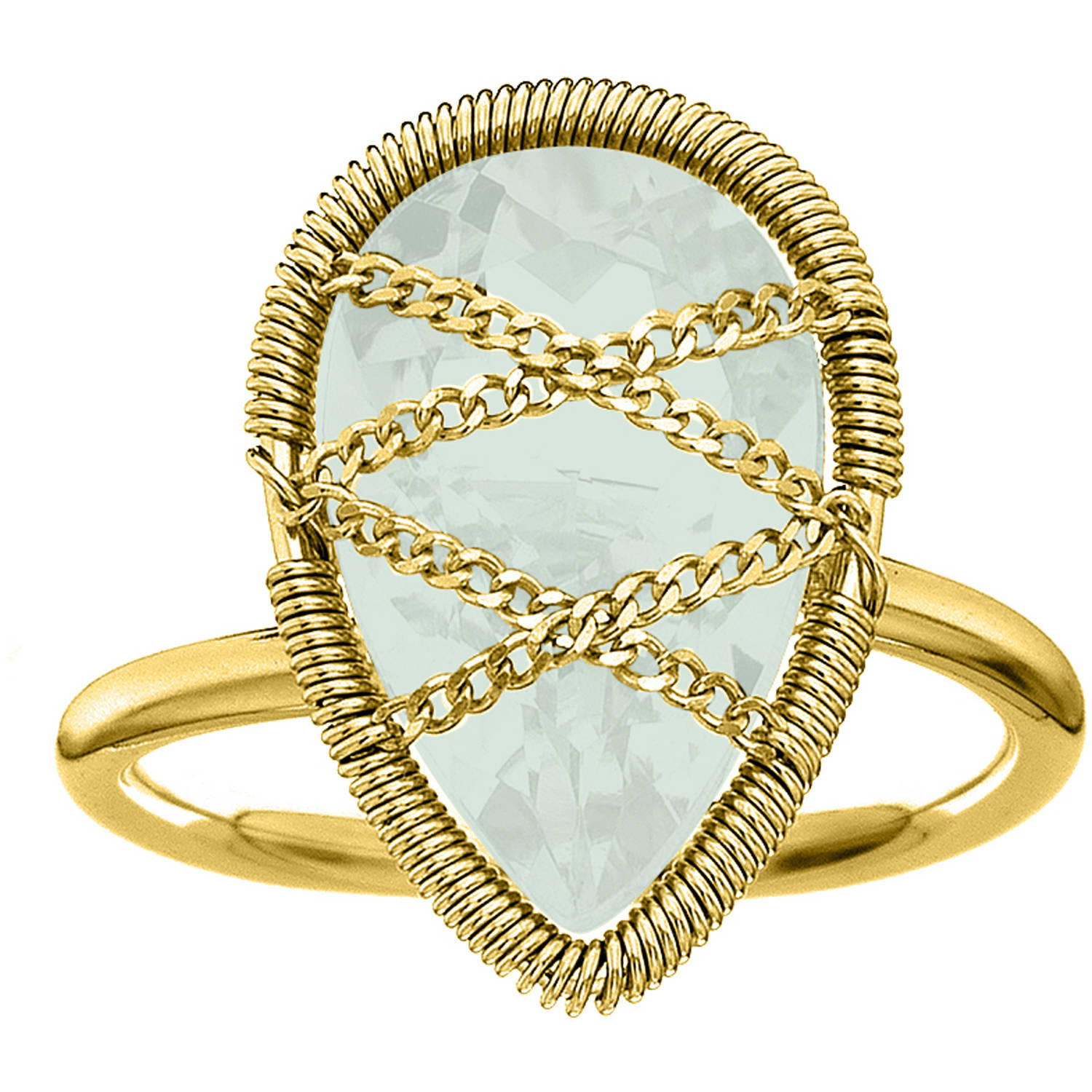 Image of 5th & Main 18kt Gold over Sterling Silver Hand-Wrapped Teardrop Chalcedony Stone Ring