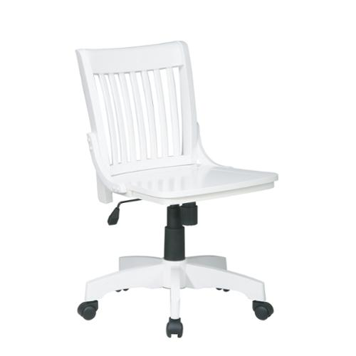 Deluxe Armless Wood Bankers Chair With Wood Seat Finish:White