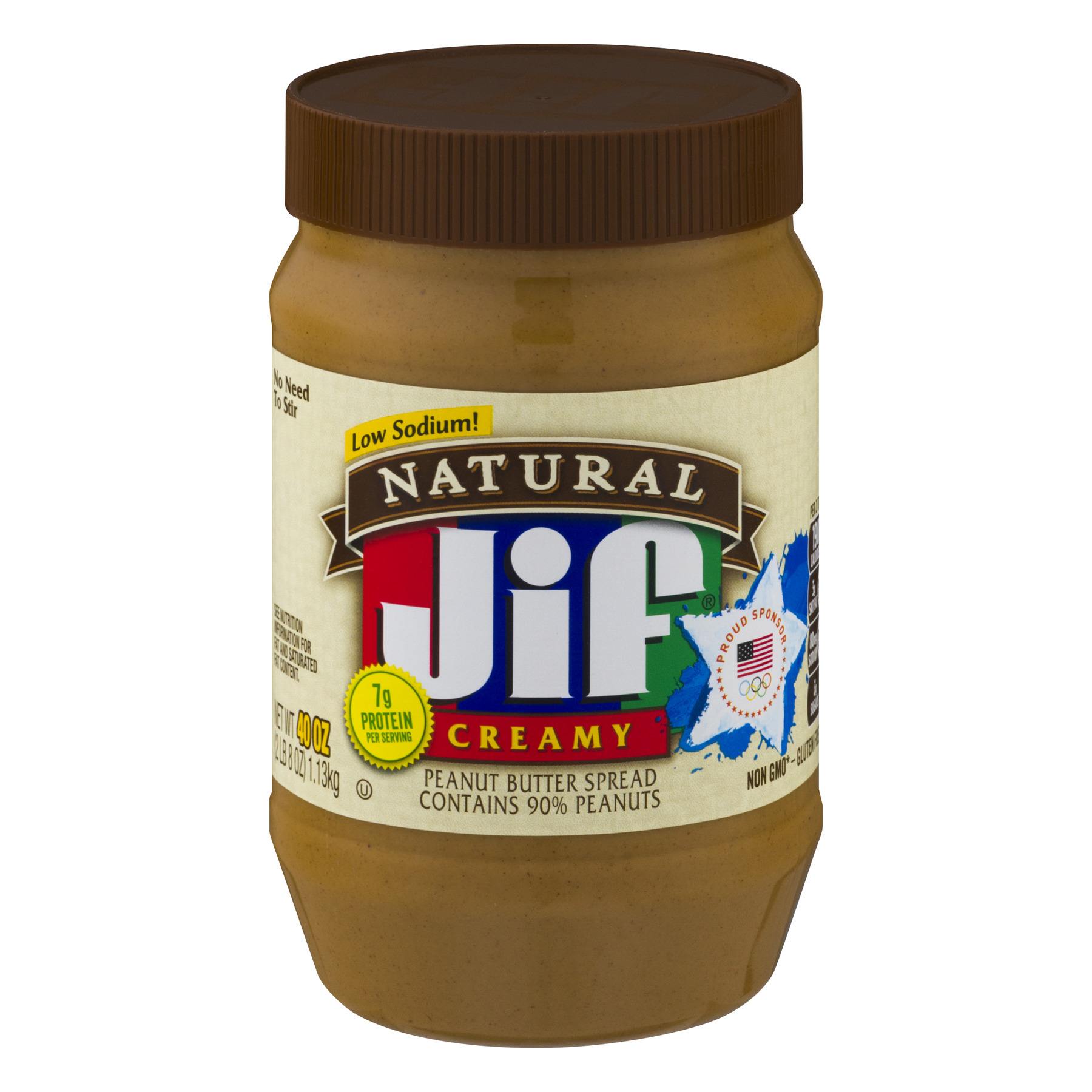 Jif Natural Low Sodium Creamy Peanut Butter, 40 oz
